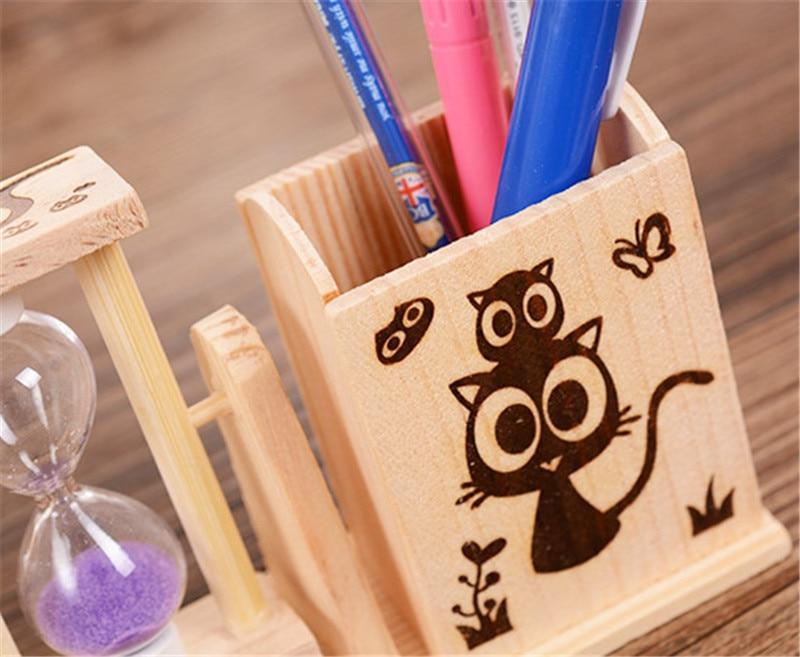 Diy cartoon houten school potlood box case zandloper beeldje