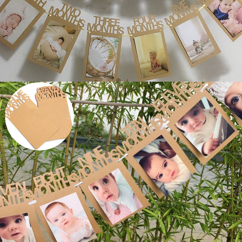 1 12 Months Baby Kids 1st Birthday Party Photo Frame Bunting Banner