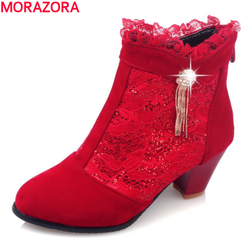 MORAZORA Autumn 2018 hot sale high heel round toe women boots high quality fashion solid black  sweet ankle bootsMORAZORA Autumn 2018 hot sale high heel round toe women boots high quality fashion solid black  sweet ankle boots
