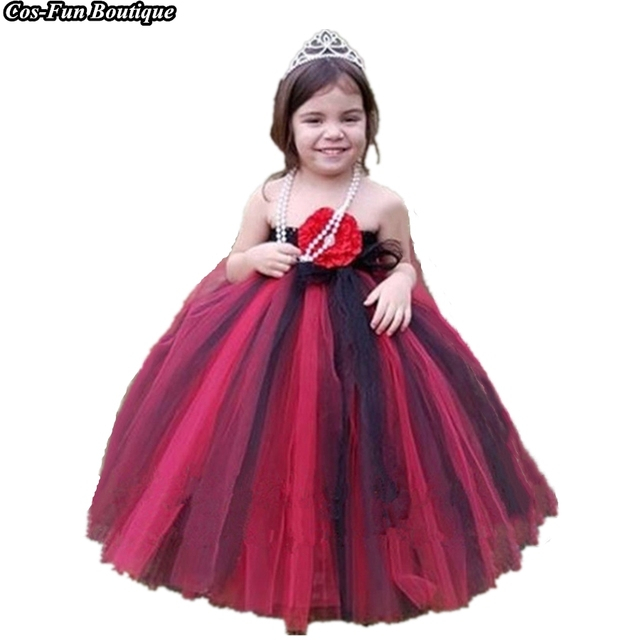 fa661e7f0a1 Kids Long Black Red Flower Girl Dresses Formal Ball Gown Party Wedding  Dress Tulle Princess Tutu Dresses For Girls Clothes w076