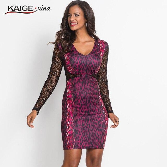 Kaige.Nina Women Dress Autumn Dresses V-neck  print lace Women Clothing Chic Vintage  Party Dresses 18022