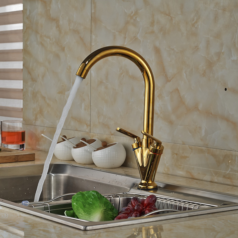 Luxury Golden Brass Kitchen Washing Mixer Faucet Deck Mount One Hole Water Taps Dual Handle contemporary single lever brass kitchen mixer taps deck mount one hole led light dual spout kitchen faucet