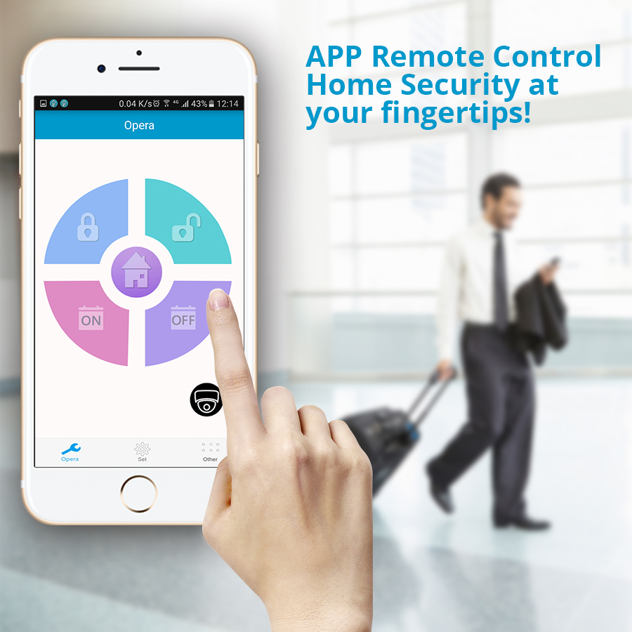 W18 Wireless WIFI GSM Burglar Home Security Alarm System Pir Motion  Detector APP Control Fire Smoke Detector Siren IP camera Kit