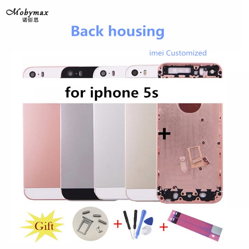 Metal Back Housing For iPhone 5s Cover Replacement Assembly Battery Door Rear Cover Chassis Middle Frame Can Customize IMEI