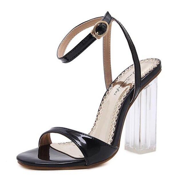 6af83448444 Mujeres gladiador sandalias de las señoras zapatos negros gruesos tacones  altos rojos de la boda sandalias