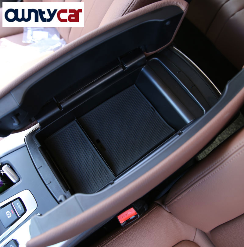 For BMW X5 F15 2014-17 X6 F16 2015-16 Armrest Storage Box Phone Glove Tray With Mat AMG LOGO Accessories accessories for bmw x5 f15 2014 2016 x6 f16 2014 2017 abs rear armrest box decoration molding cover trim 2 pcs set