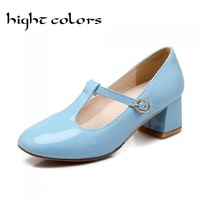 Sexy Japanned Leather Women Sweet Lolita Bowknot Cuban Low Heel T Strap Mary Janes Pumps For Women Party Shoes Big Size 34~43