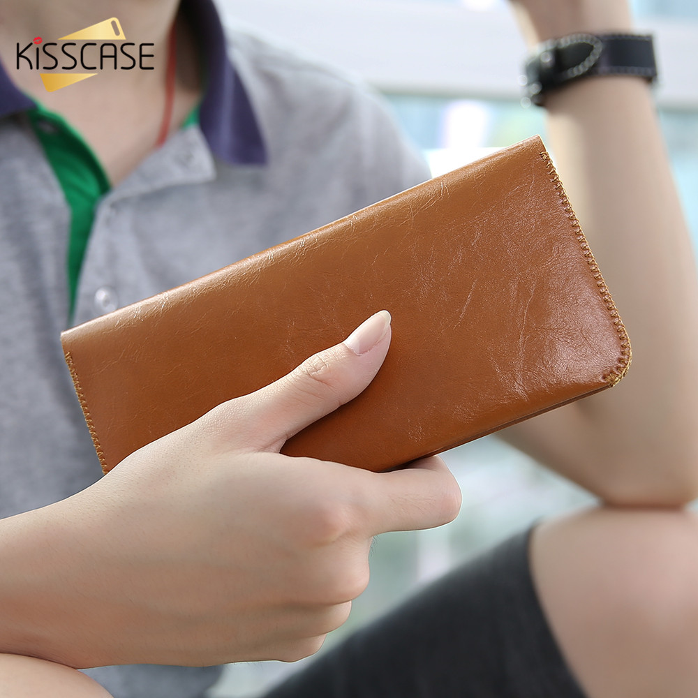 KISSCASE Luxury Wallet Case For iPhone 6 6S 7 Plus Samsung S8 S8 Plus Case 6 Universal Flip Microfiber Cover For iPhone 6 7 Bag