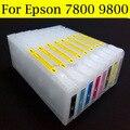 8 шт./лот высокое качество пустой чернильный картридж для Epson 7800 9800 принтер с сбрасываемый чип Resetter