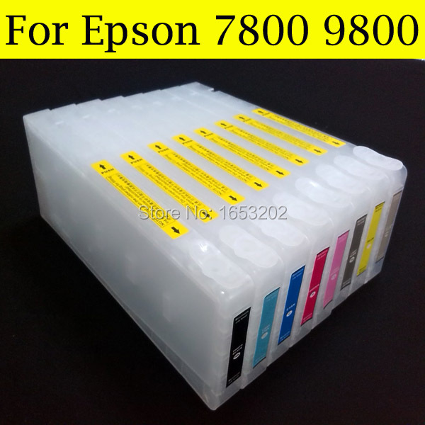 8 Pieces/Lot High Quality Empty Ink Cartridge For Epson 7800 9800 Printer With Resettable Chip Resetter vilaxh for epson p600 chip resetter for epson surecolor sc p600 printer t7601 t7609 cartridge resetter