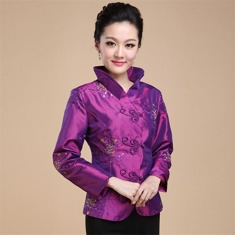 Spring Autumn Chinese Style Retro Female Tang Suit Qipao Coat Hanfu Long Sleeve Cheongsam Top Tangzhuang