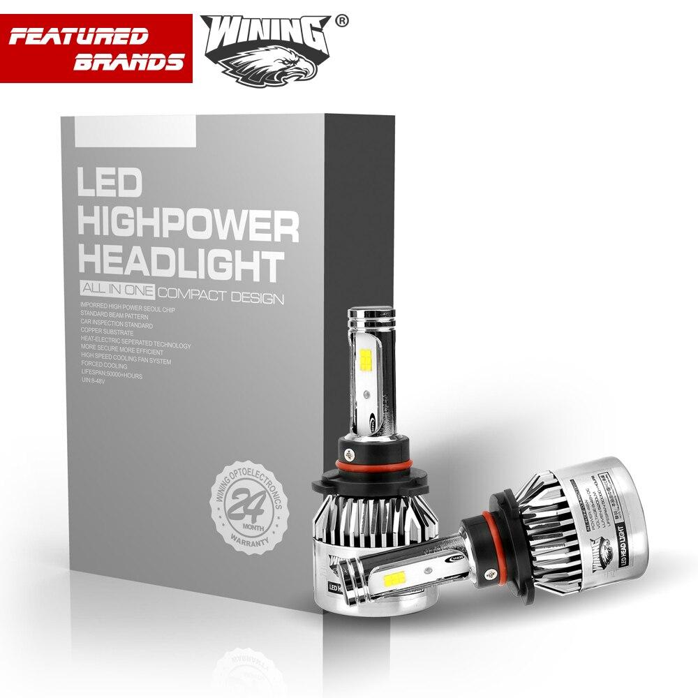 WINING H4 Car Led Headlight High Power Auto H1 H7 9012 9005 9003 High Low 40W X2 White 6000K Bulb repalcement Bi Xenon Headlamp