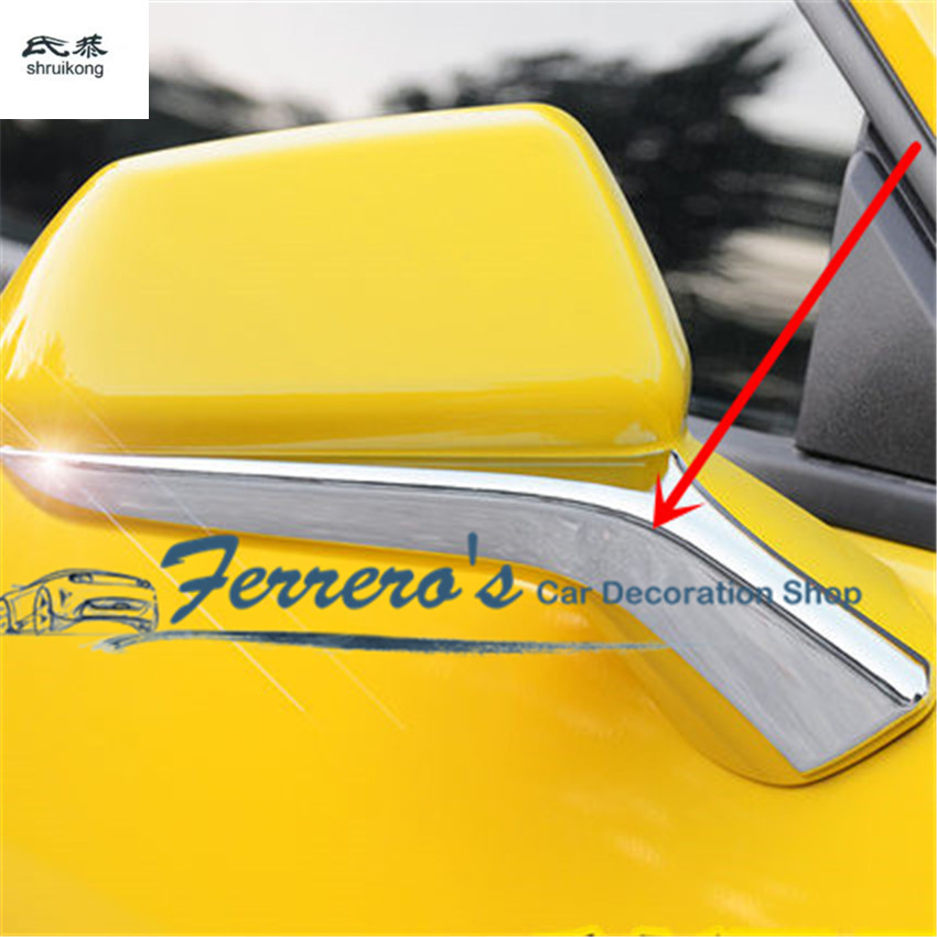Free shipping 2pcs/lot ABS chrome Rearview mirror pedestal trim decoration cover car accessories For 2016 2017 Chevrolet Camaro