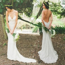 Open Back Spaghetti Straps Trumpet Mermaid Wedding Dresses Lace Applique Sweep Train Bridal Gowns yk1A584