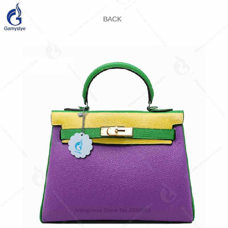 100% Genuine Leather Bag Large Women Leather Handbags Designer Lock Tote Classic Brand Hit Color Purple Green stylish women s hit color spaghetti strap blouse