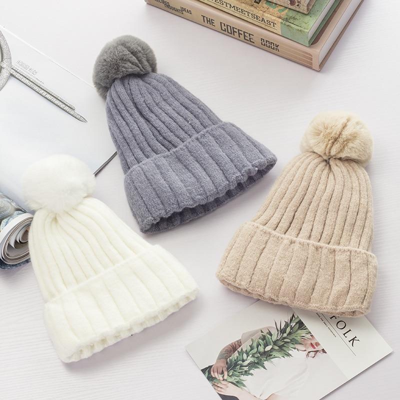 Maxmessy Candy colores mujeres sombrero de invierno de punto espesar ...