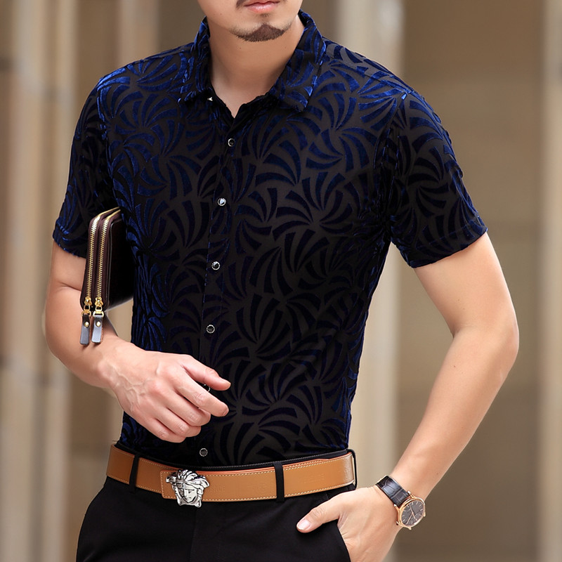 Mens see through shirts black blue velvet shirts men for Mens black short sleeve dress shirt