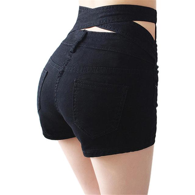 2016 Verão Novo Sexy Slim Skinny Estiramento Escavar Alta cintura Das Mulheres Mini Shorts Plus Size Preto Branco Azul Denim S-XXXL