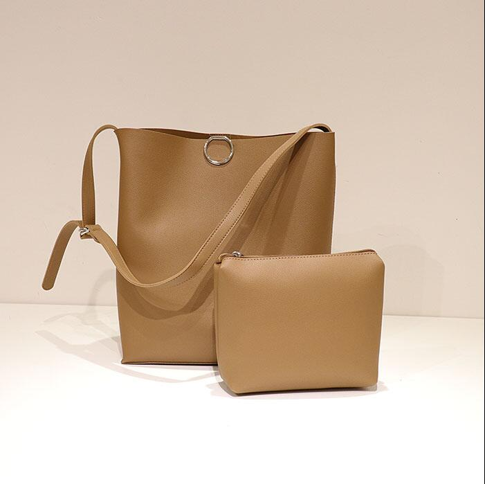 All-Match Bucket Bag Simple Style Pu Leather One Shoulder Women's Handbags Female Bag T-5984R
