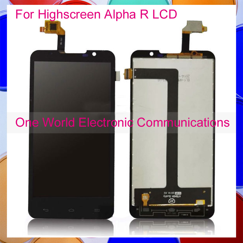 5.0'' Black New For Highscreen Alpha R Phone Full LCD Screen Display Digitizer With Touch Screen Complete Assembly Tracking Code best price brand new for highscreen alpha ice lcd display touch screen assembly replacement free shipping tracking code