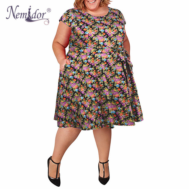 5a76c15f01f Nemidor Women Casual O-neck Short Sleeve Floral Print A-line Dress Plus Size  7XL 8XL 9XL Vintage 1950s Swing Dress With Pockets