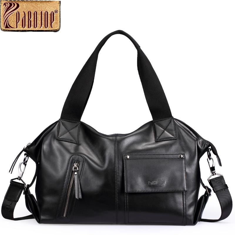 Pabojoe Mens Handbags Women Fashion Bags Genuine Cowhide Leather Business Briefcase Travel Holder Big Capacity pabojoe women mens school backpack italian 100