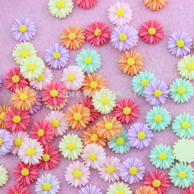 Set of 100pcs Decoden Daisy Bloom Flower Cabochons Cab Assorted Colors for Cell Phone, Hairwear Decor DIY Free Shipping
