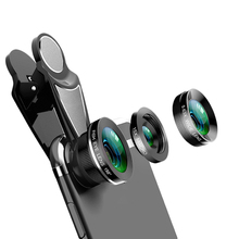 3 In 1 Phone Camera Lens Kit Fish Eye 0.63X Wide-Angle 15X Macro Lens For Iphone X 8 7 Plus Nokia 6 5 Mobile Lens 58mm 0 25x super wide angle fish eye w 12 5x macro lens black