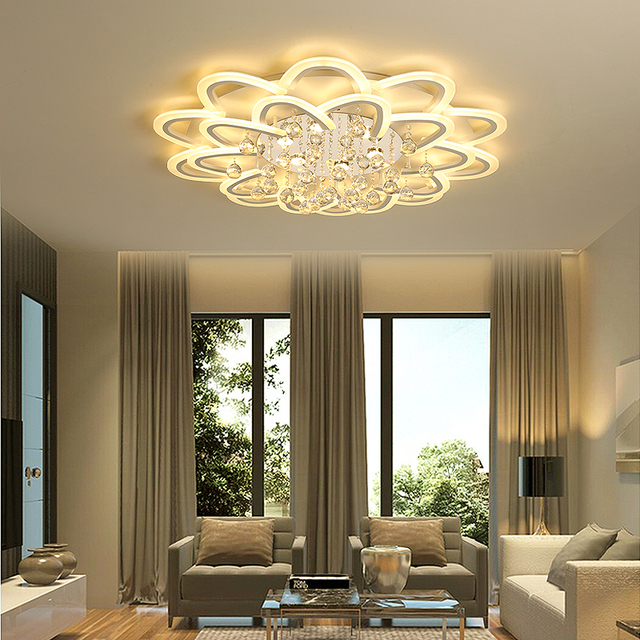 Led Crystal Ceiling Lamp For Living Room Bedroom Kitchen Sitting Light Decoration Lighting Fixtures Wireless