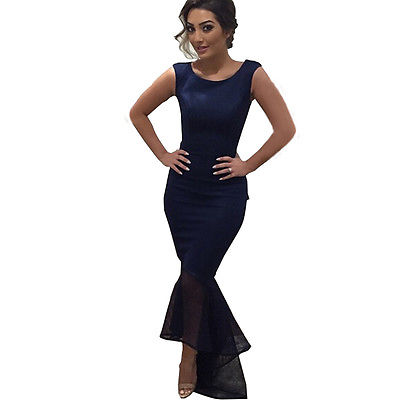b3d8107880e Women Formal Bodycon Dress Party Lace Mermaid Midi Dress Size Costume Solid  Navy Blue-in Dresses from Women s Clothing on Aliexpress.com