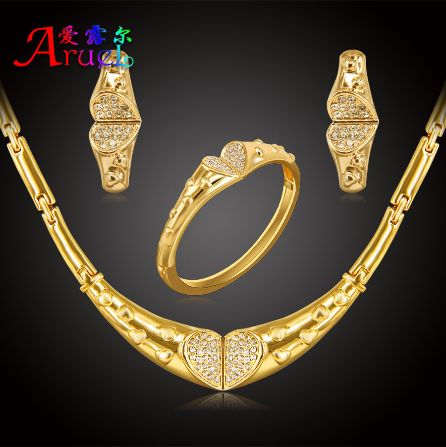 Jewelry Set For Women Nigerian African Wedding Bridal Fashion Heart Necklace  Earring Bracelets Gold Color Crystal