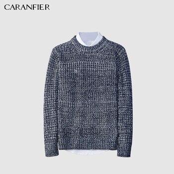 Ropa de lana para hombre, suéter de punto para otoño, cuello redondo, ajustado, para hombre, Tops holgados de Color sólido para hombre homme