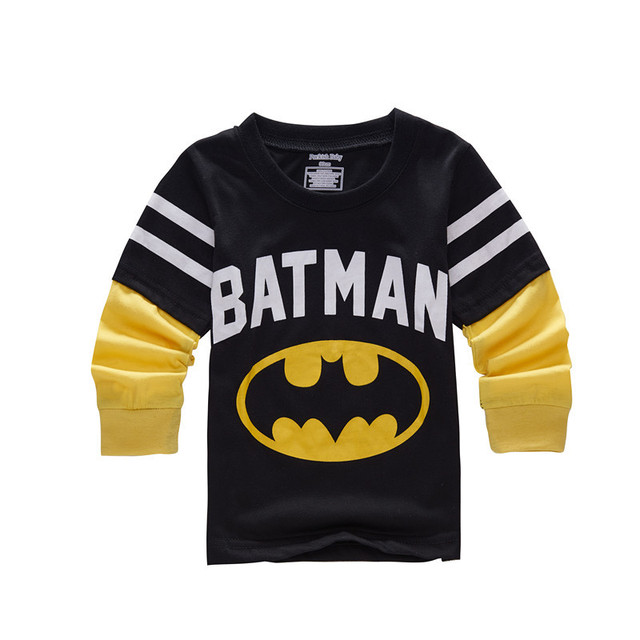 d119a8ec5 Primavera bebé niños camisetas de manga larga niñas Superman Batman camisa  camisetas Tops traje de niños