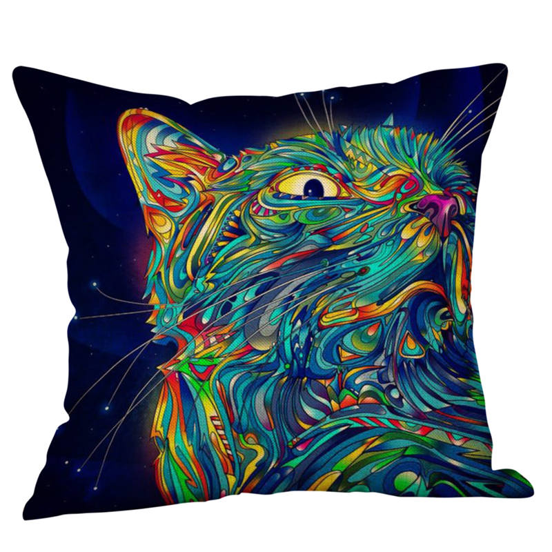 Cute Painting Cat Style Cushion Cover Cotton Linen Multicolor Square Pillow Case for Sofa Chair Bed Decoration 50*50cm