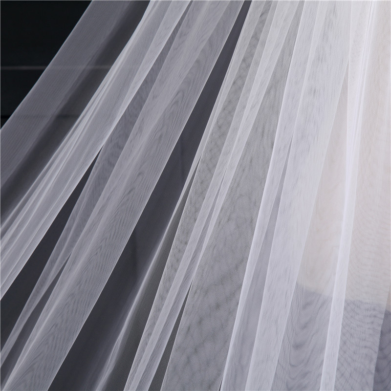 Image 4 - 4 Meter White Ivory Cathedral Wedding Veils Long Lace Edge Bridal Veil with Comb Wedding Accessories Bride Veu Wedding Veil-in Bridal Veils from Weddings & Events