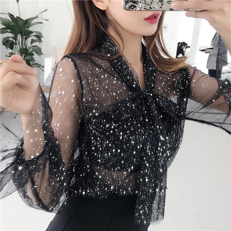 2018 New Girls Transparent Mesh Bow neck Beading Blouses Shirts Tees Lady Full Flare Sleeve Chic Blouses Tops For Women