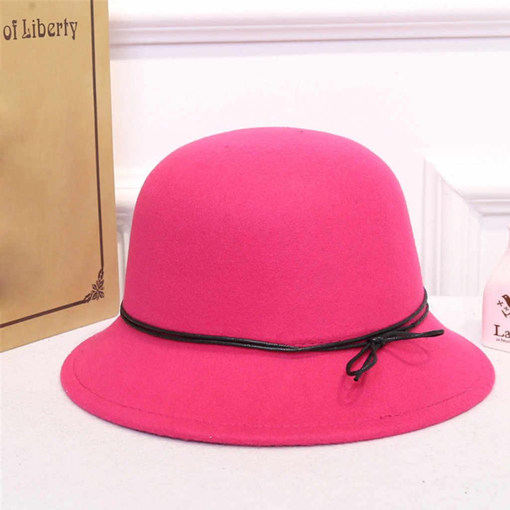 ISHOWTIENDA Noble laine Fedoras chapeau pour femmes chapeau mode nœud-noeud casquette Vintage élégant femme casquette marque doux filles Chapeu en gros
