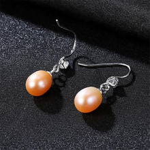 2018 AAA Shiny Zircon Real Natural Freshwater Pearl Drop Earrings For Women Fashion Luxury Crystal 925 Sterling Silver Jewelry