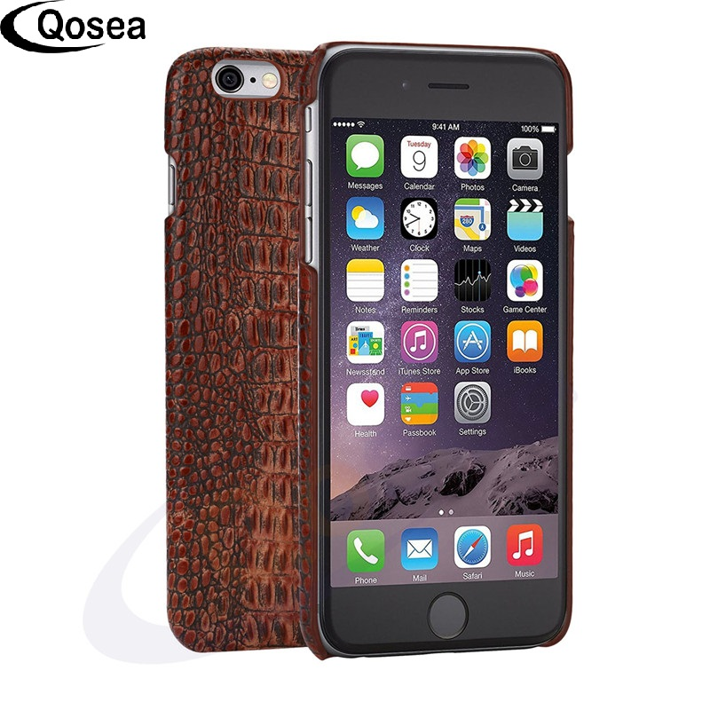 Qosea For iPhone X Lizard Skin Case Luxury 3D Printed Design Lizards Hard Genuine Leather For iPhone 7 8 Plus Phone Back Cover
