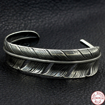 2019 Brand Hot Sale Copper inlaid feather fashion Bangles 100% 925 sterling silver bracelet bangle for women or men fine jewelry