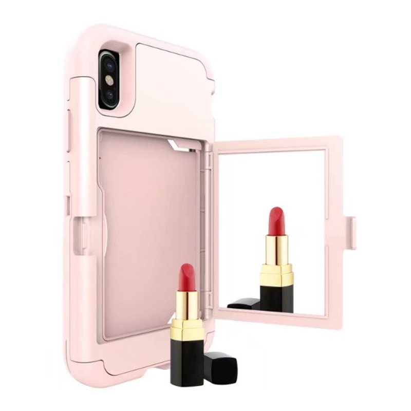 2019 new arrivals mobile accessories mirror phone case used in makeup for iphone x luxury case with card slots iPhone X case