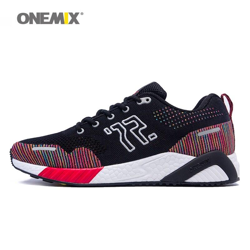 ONEMIX hommes chaussures de course colorées vamp tricoté baskets mémoire amortissement semelle souple dissiper l'humidité semelle déodorante en cours d'exécution