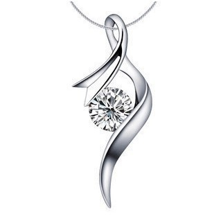 Fashion pendant of curve design 05 carat simulated diamond fashion pendant of curve design 05 carat simulated diamond pendantnecklace for girl 925 sterling silver gold aloadofball Image collections