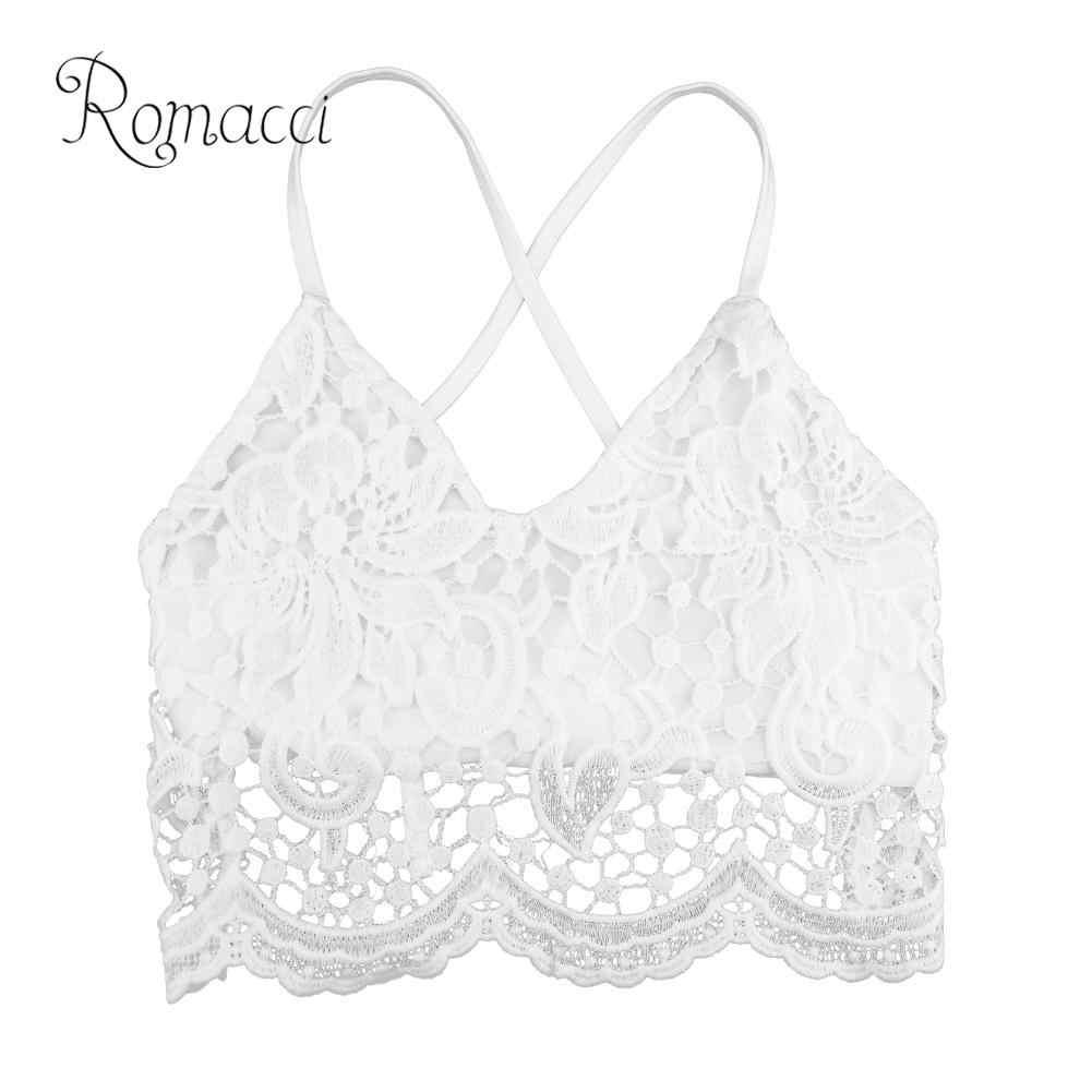 505d4826edfc6 Romacci Plus Size 5XL Sexy Women Crop Top Crochet Lace Deep V Neck  Spaghetti Strap Summer