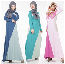 Islamic Jilbab Kaftan 2016 Muslim Womens Dresses O-Neck Long Sleeve Floor-Length Abaya Hijab Polyester Chiffon Colorful Dresses