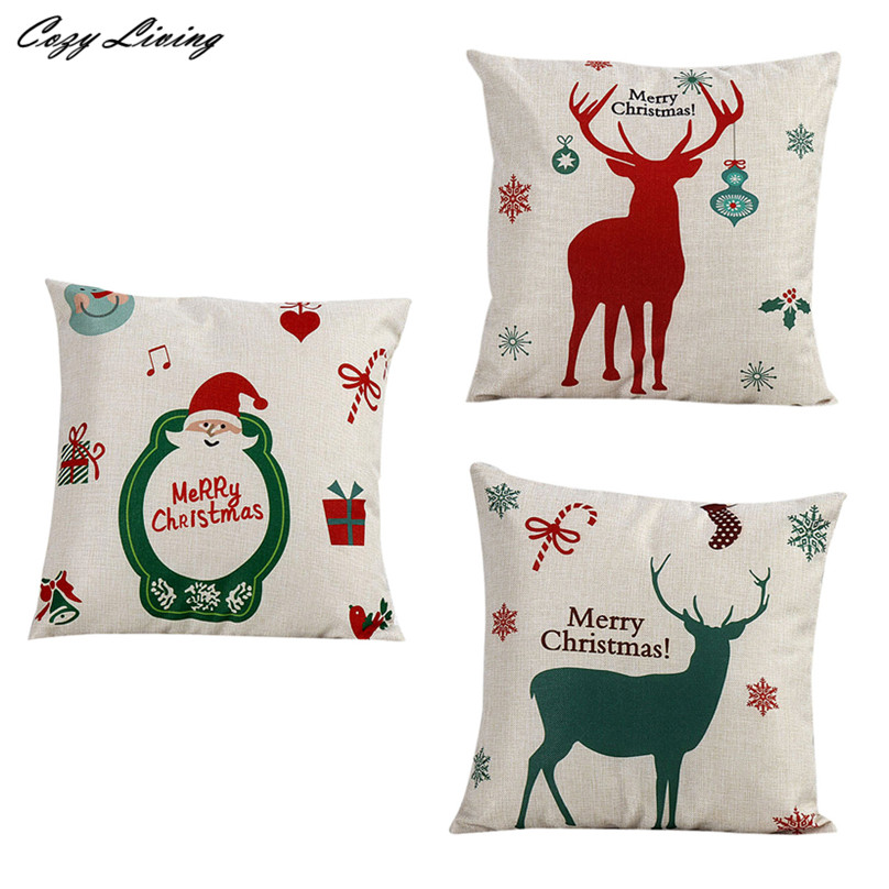 ツ)_/¯Almohadas Carcasas 45*45 cm vendimia Navidad Santa Claus ...