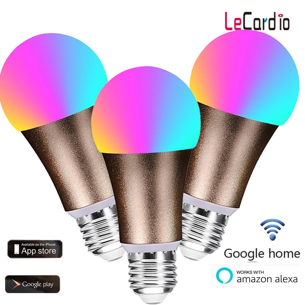 3pcs Smart WiFi Light Bulb led lamp 7W RGB Magic Light Bulb E27 Dimmable Wake-Up Lights Compatible with Alexa Google Assistant