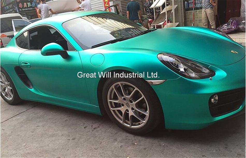 Ice Satin Хромовая виниловая пленка для обертывания воздуха, Матовый Металлик, хромированное покрытие для автомобиля, наклейка для автомобиля, фольга 1,52*20 м/рулон/5ftx67ft - Название цвета: tiffany blue