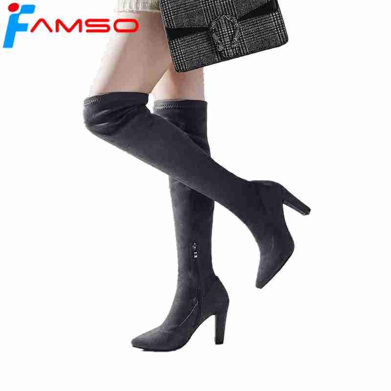 FAMSO 2018 Women Boots Patent Leather High Heels Thigh High Boots Designer Female Pointed Toe Sexy Winter Motorcycle Boots
