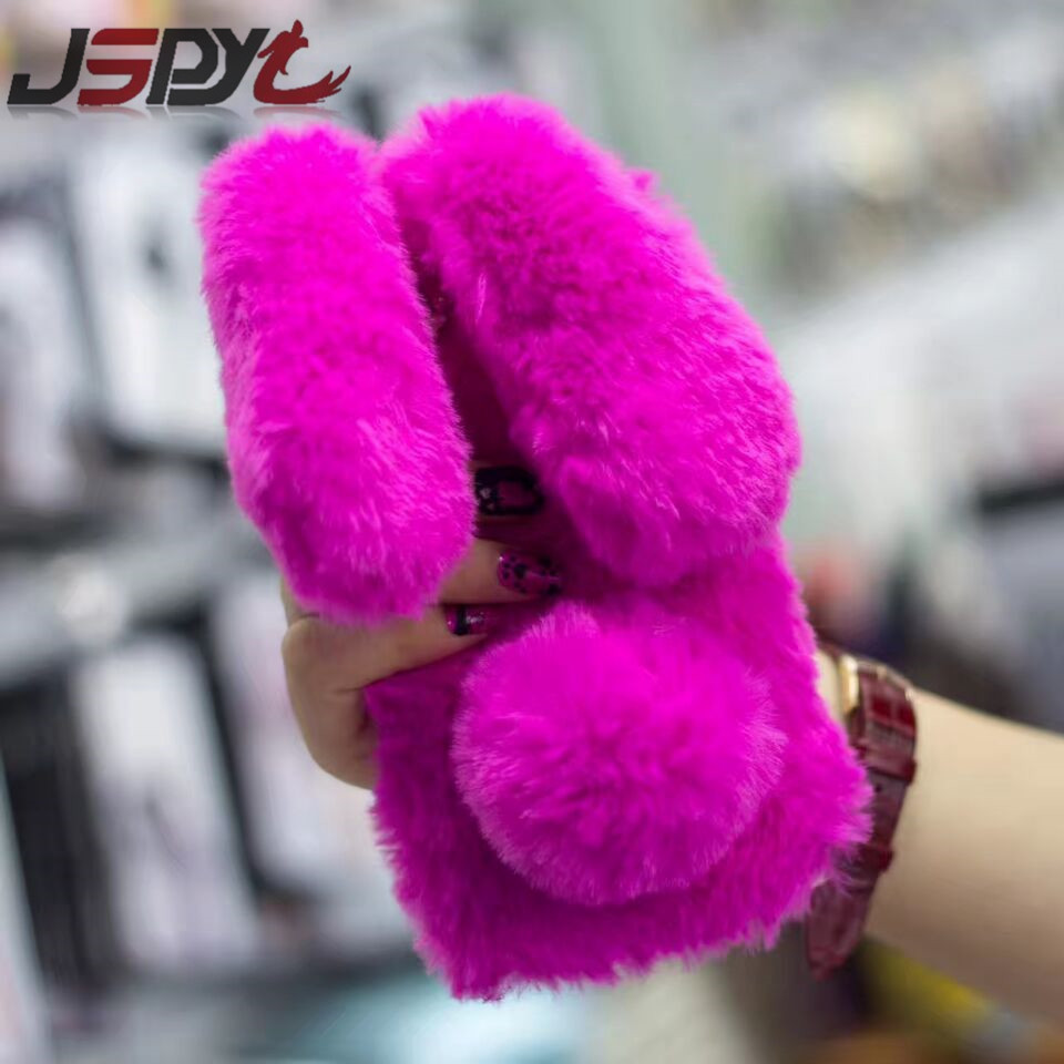 JSPYL Bag Coque Funda Ffor IPhone 8 7 Plus Phone Cases Rabbit Fur Case Fluffy Fur